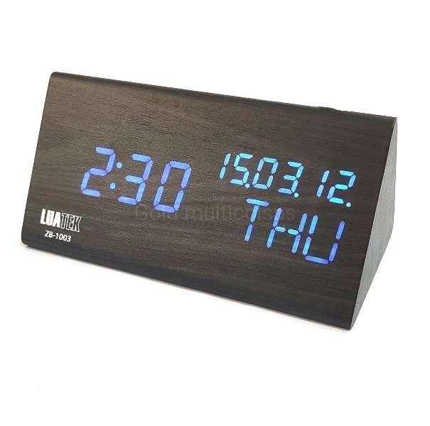 Relógio Despertado De Mesa Hora Temperatura Tipo Madeira Luatek ZB-1003