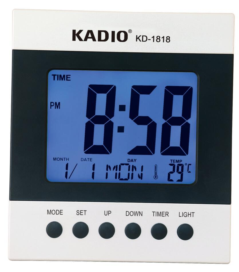Relógio Despertador Lcd Digital De Mesa Temperatura Data Kadio Kd-1818