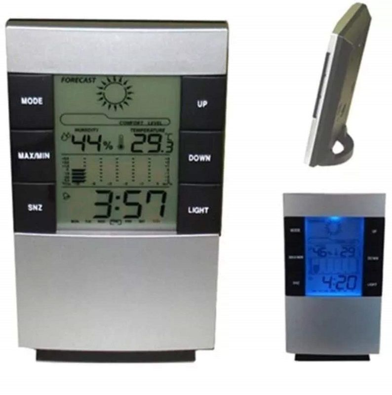 Relógio Despertador Termo Higrômetro Digital Temperatura E Umidade Do Ar Ds-3210