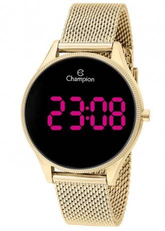 Relógio Digital Feminino  Dourado Champion Led Rosa Ch40133h
