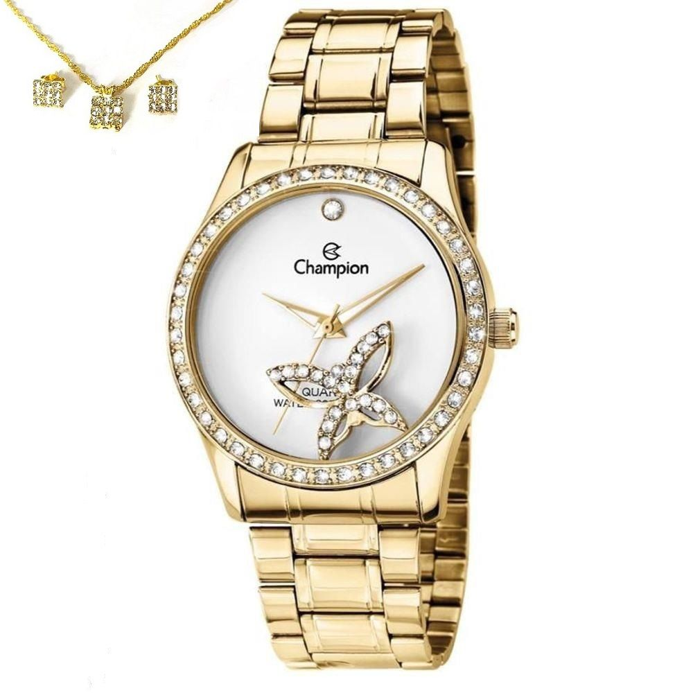 Relógio Feminino Champion Analógico + Conjunto Semi Joia Ch25892w Dourado