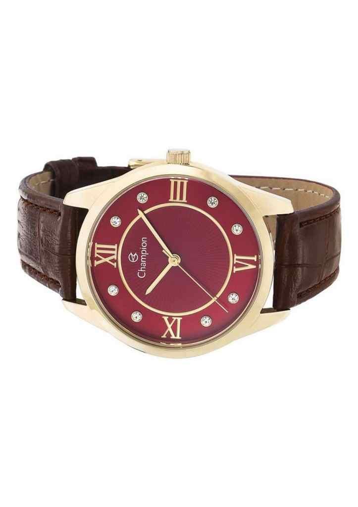 Relógio Feminino Champion Analógico Dourado Pulseira Couro Marrom Cn28268V