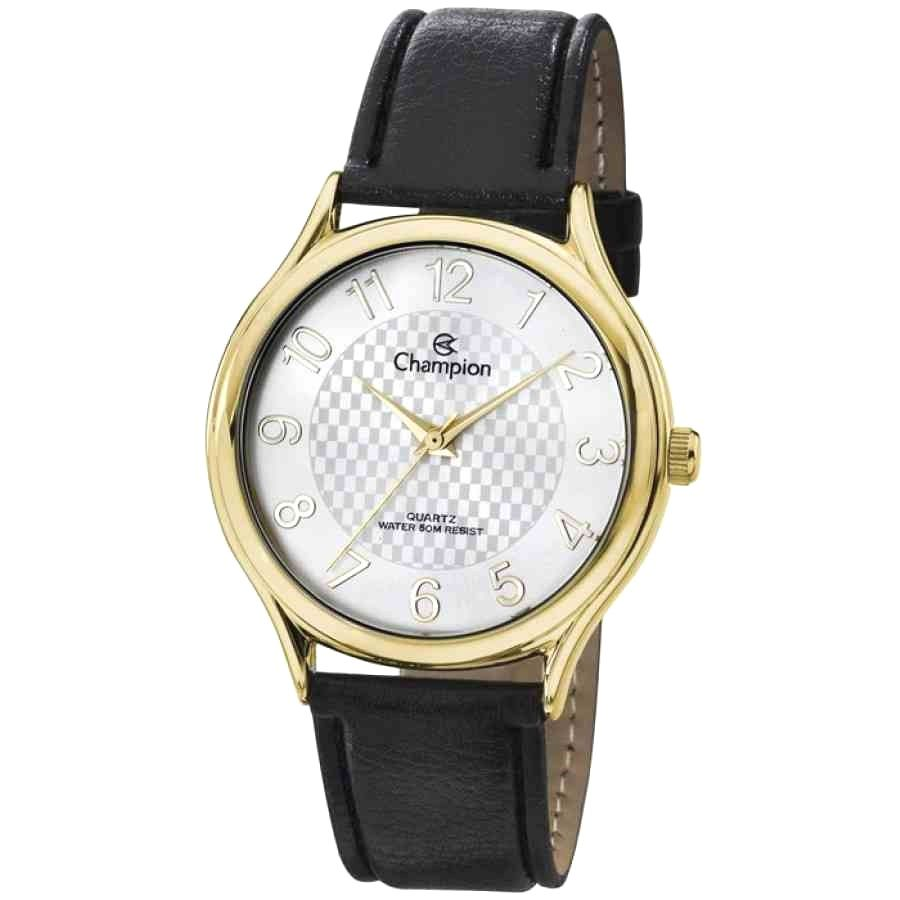 Relógio Feminino Champion Analógico Dourado Pulseira Couro Preto Ch22706m