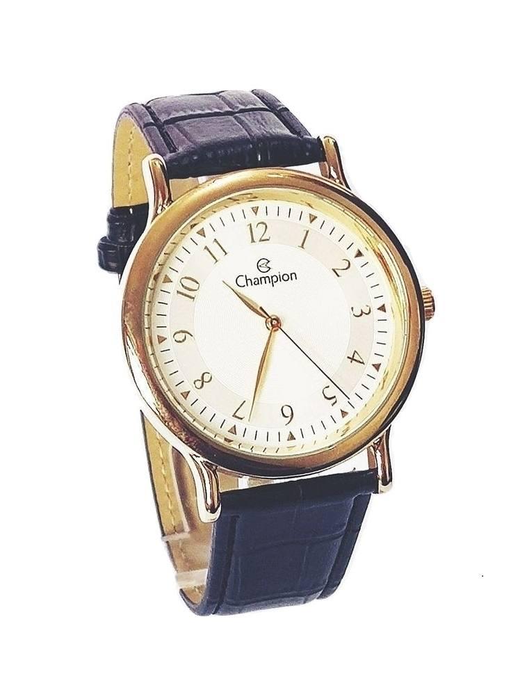 Relógio Feminino Champion Analógico Dourado Pulseira Couro Preto CH22813B
