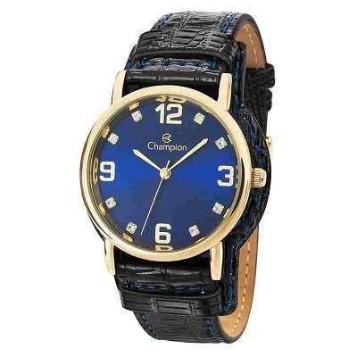 Relógio Feminino Champion Analógico Dourado Pulseira Couro Preto Cn20186a