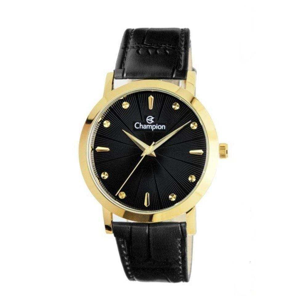 Relógio Feminino Champion Analógico Dourado Pulseira Couro Preto CN20622P