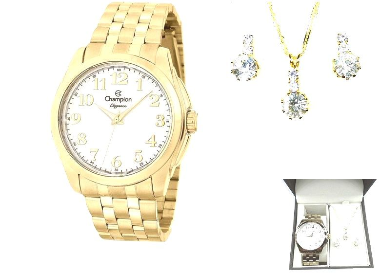Relógio Feminino Champion Analógico  Mais Conjunto Semi Joia CN27572W