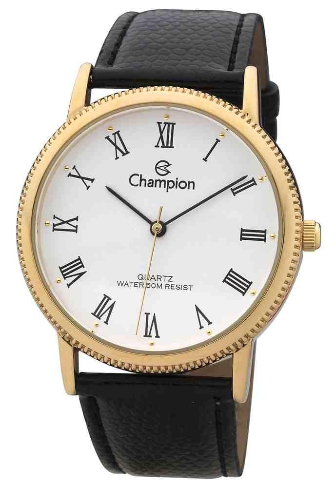 Relógio Feminino Champion Analógico Romano Dourado Pulseira Couro Preto Ch22180m