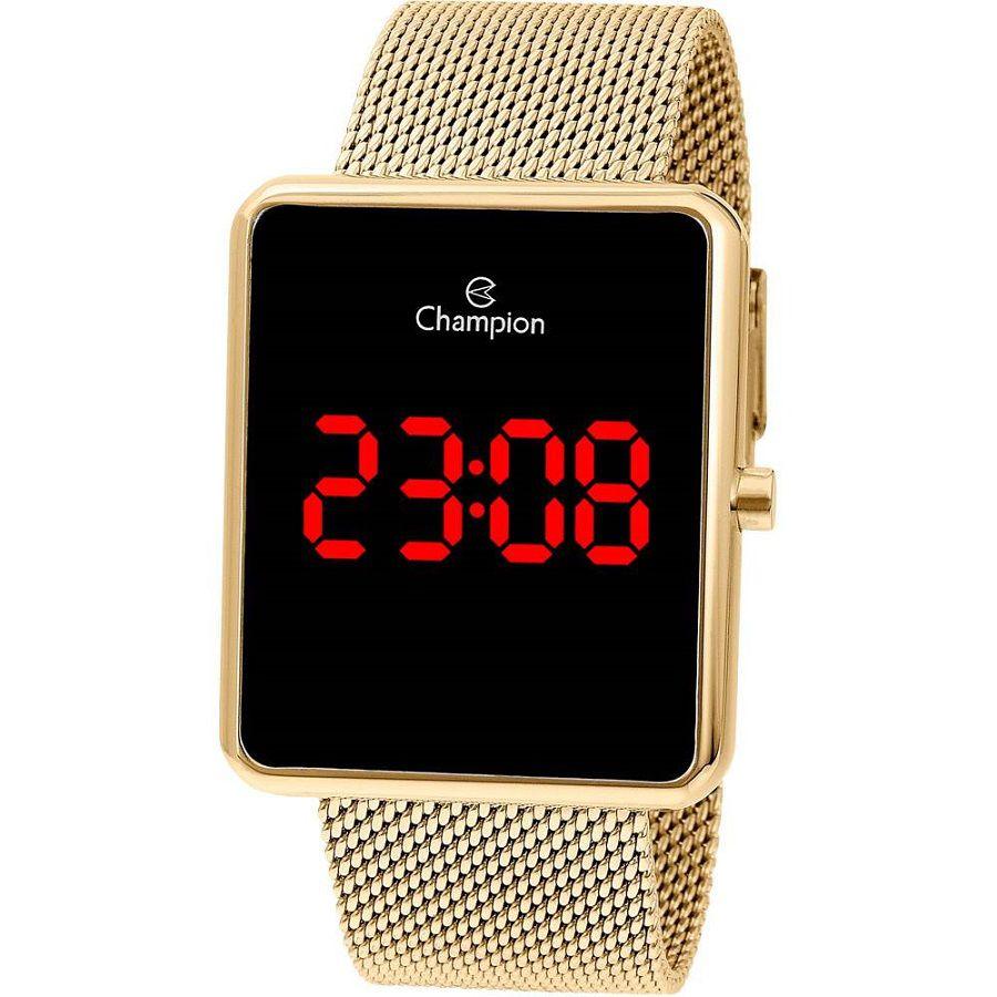 Relógio Feminino Champion Digital - Dourado Led Vermelho Ch40080v