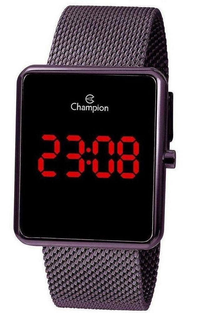 Relógio Feminino Champion Digital - Marrom Led Vermelho CH40080L