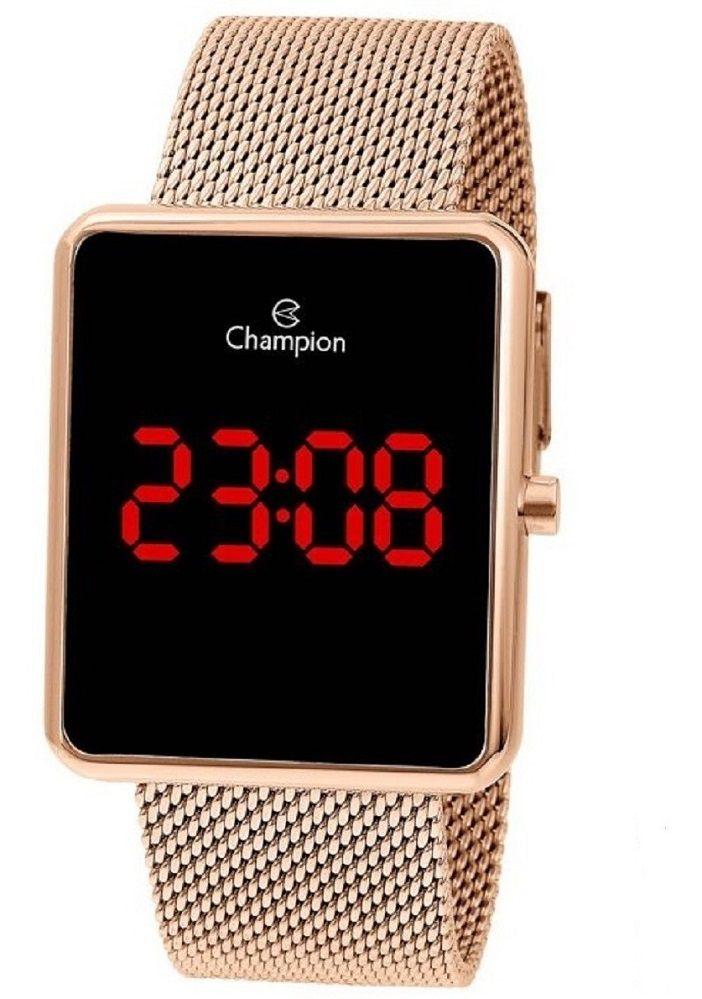 Relógio Feminino Champion Digital - Rosê Led Vermelho Ch40080p