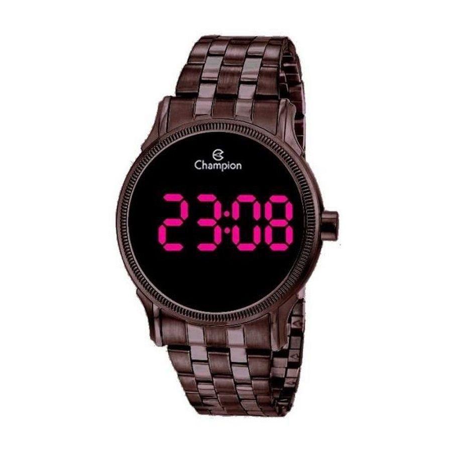 Relógio Feminino Digital Led Rosa Grande Champion  Marrom CH40204R