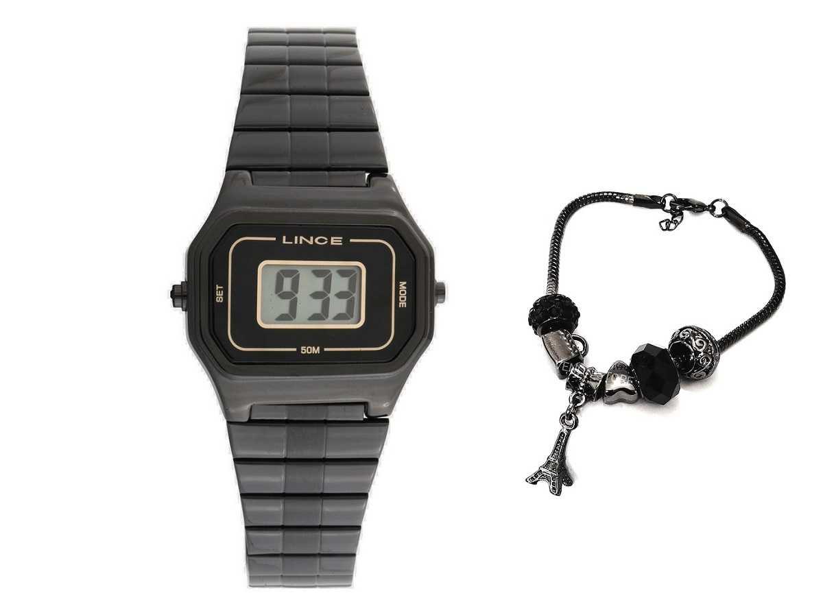 Relógio Feminino Lince Digital Preto + Pulseira com Berloques SDN4608L KY08
