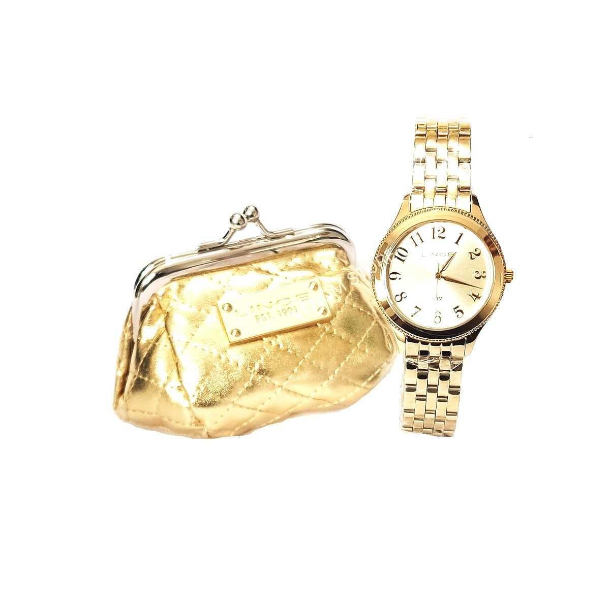 Relógio Feminino Lince Dourado + Bolsa Porta-níquel LRG4369L K181