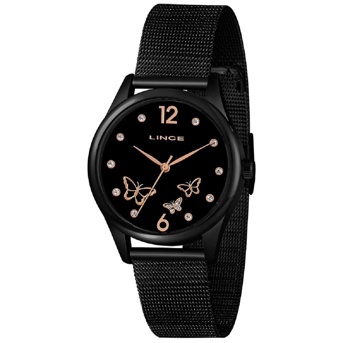 Relógio Feminino Lince Preto Pulseira Milanese LRNJ105L P2PX