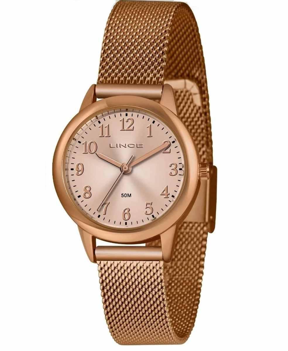 Relógio Feminino Lince redondo Pulseira Milanese Rose LRR4653L R2RX