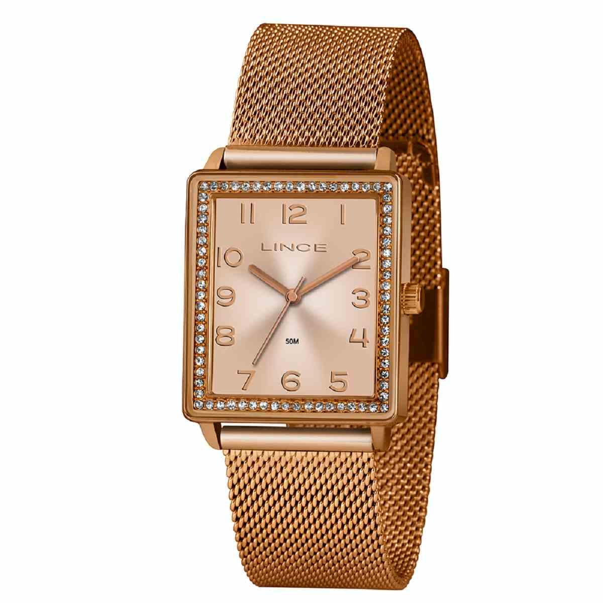Relógio Feminino Lince Quadrado Rose C/ Strass Pulseira Milanese LQR4665L R2RX