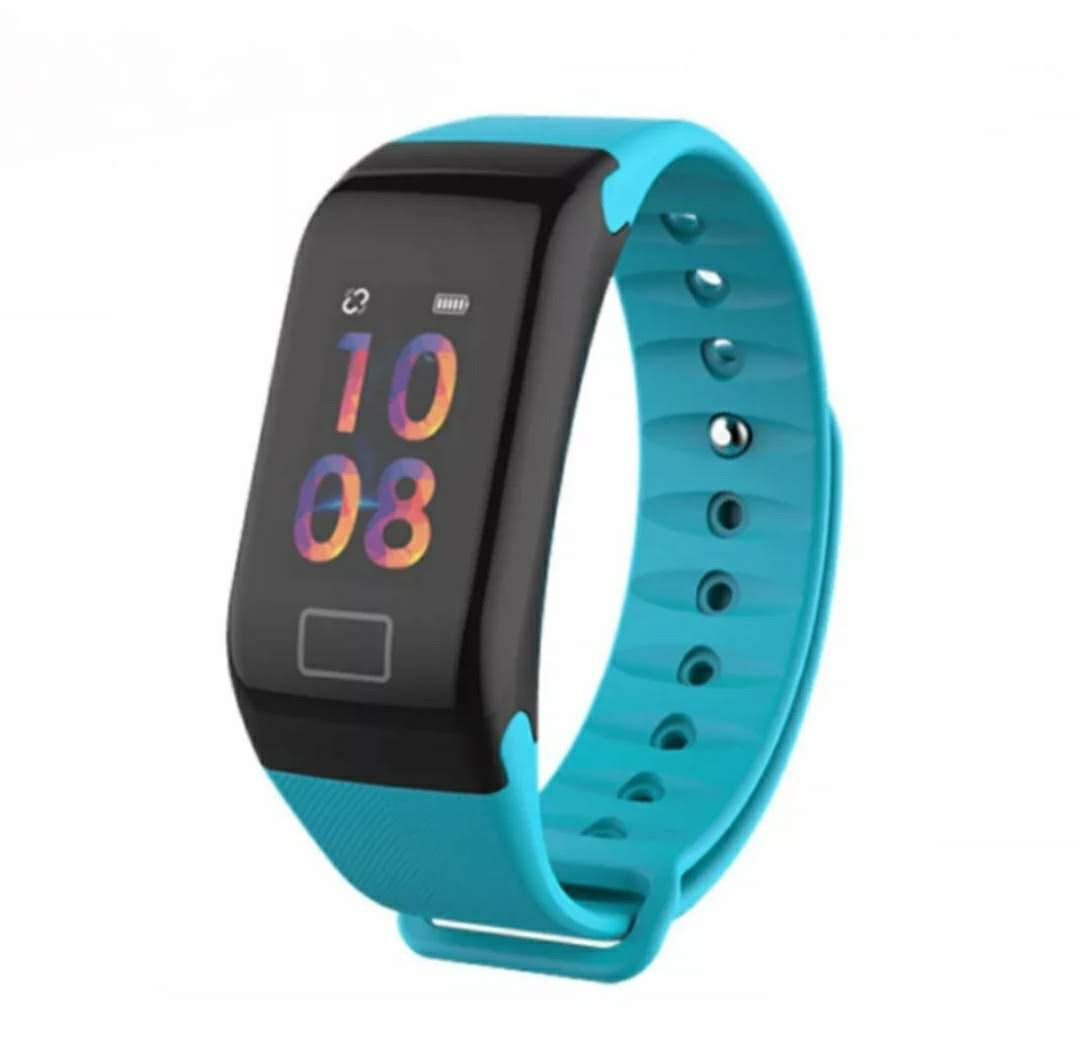 Relógio Inteligente F1 Plus Monitor Passo Pressão Sanguínea Calorias Sono Ritmo Cardíaco Azul