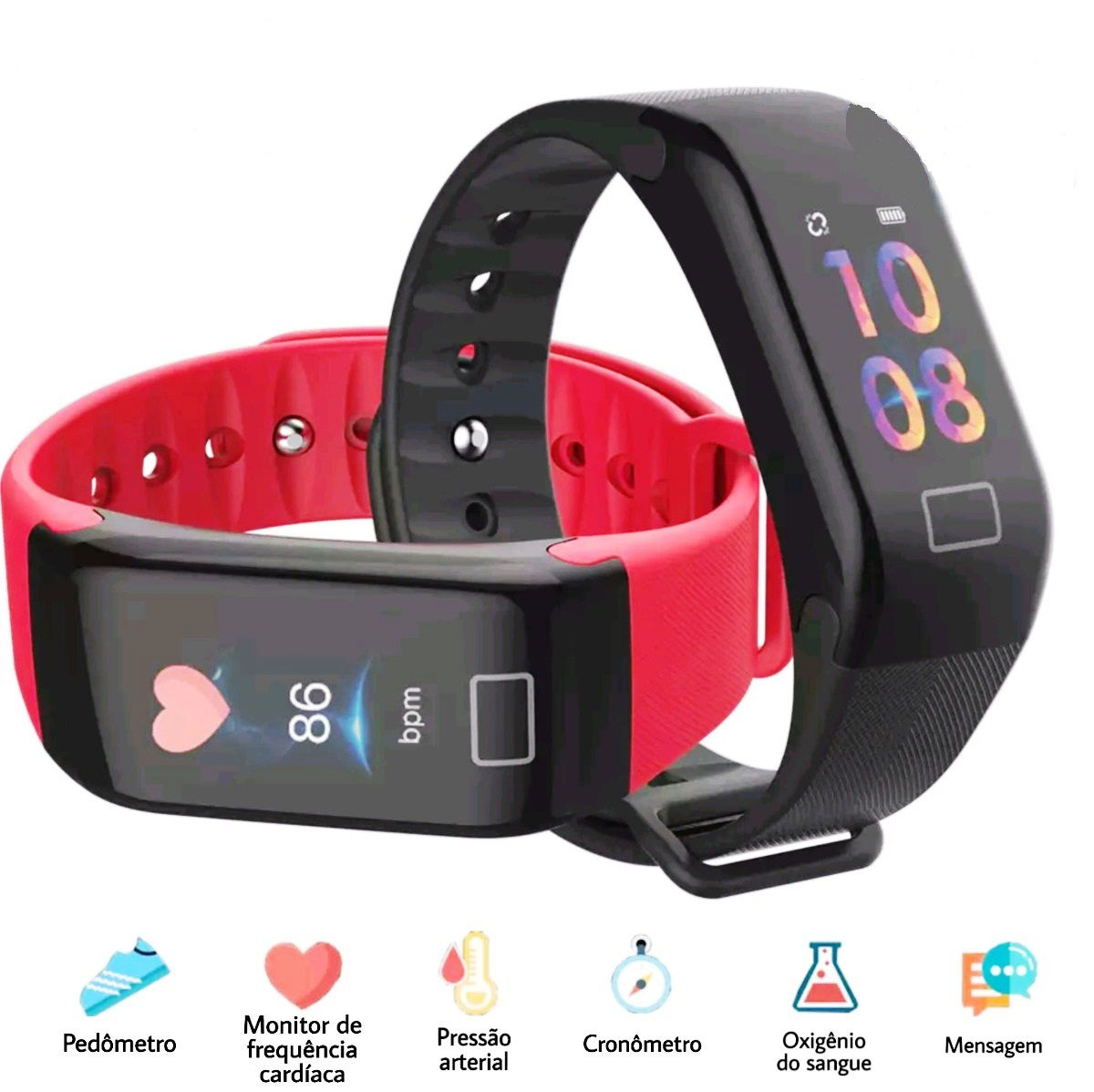 Relógio Inteligente F1 Plus Smartband Monitor Passo Pressão Sanguínea Calorias Sono Ritmo Cardíaco