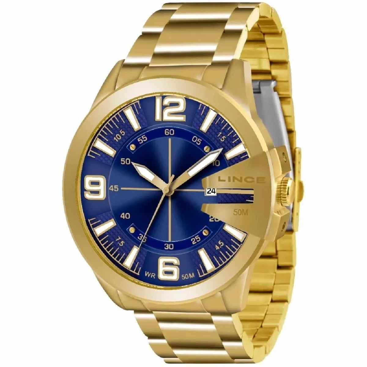 Relógio Lince Masculino Analógico Dourado Fundo Azul MRG4333L D2KX