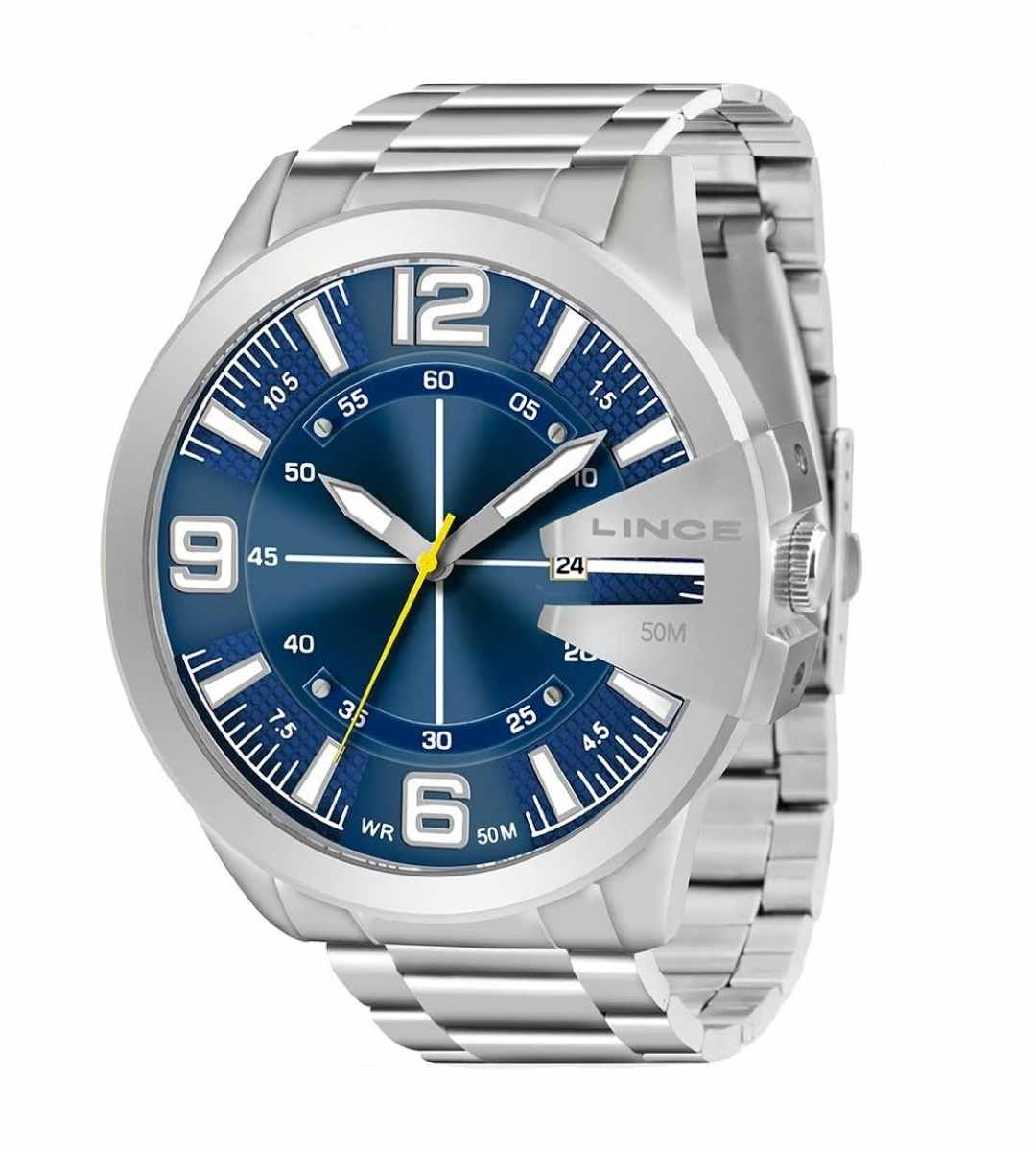 Relógio Lince Masculino Analógico Prateado Fundo Azul MRM4333L D2SX