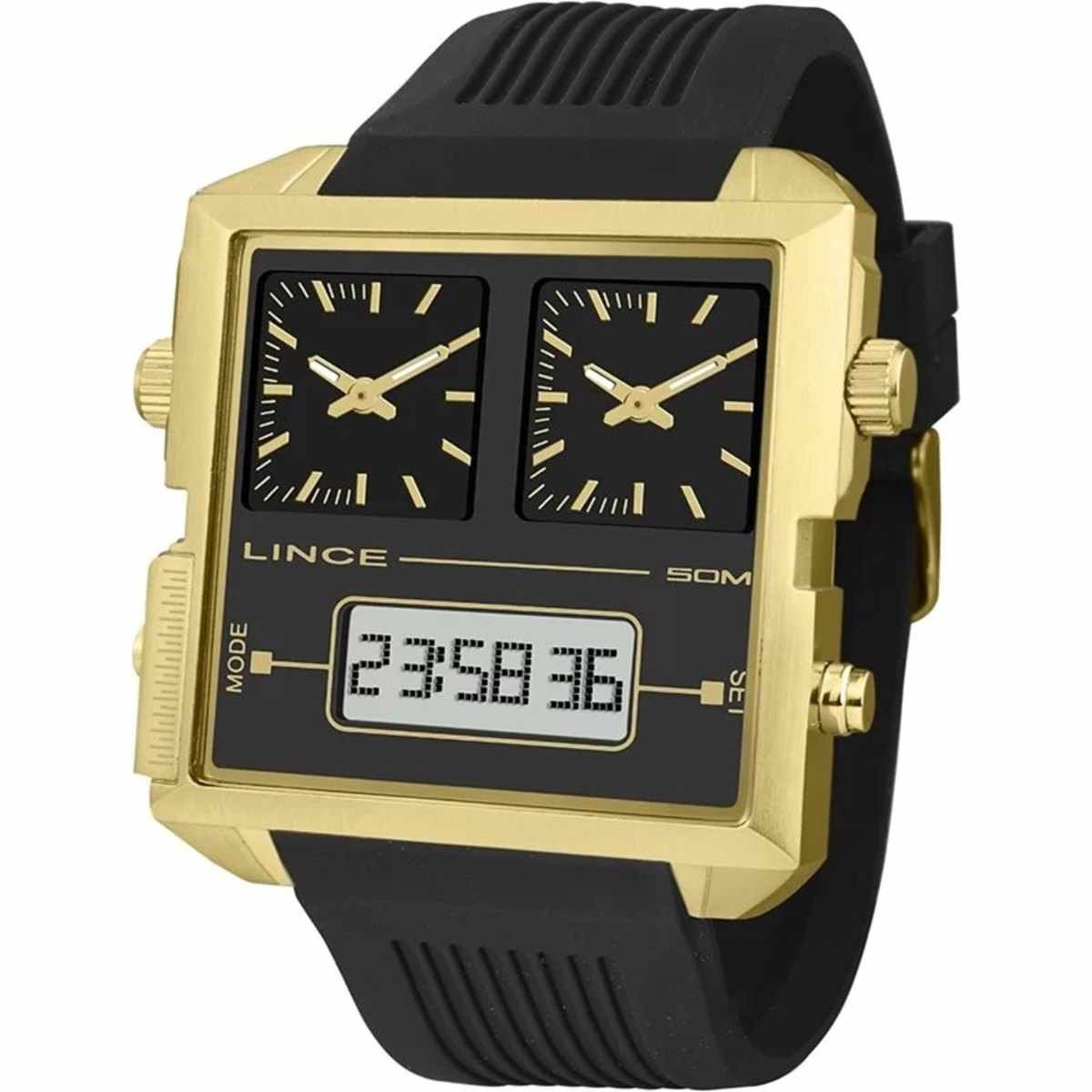 Relógio Lince Masculino Digital e Analógico Quadrado Dourado Silicone MAP4587S P1PX