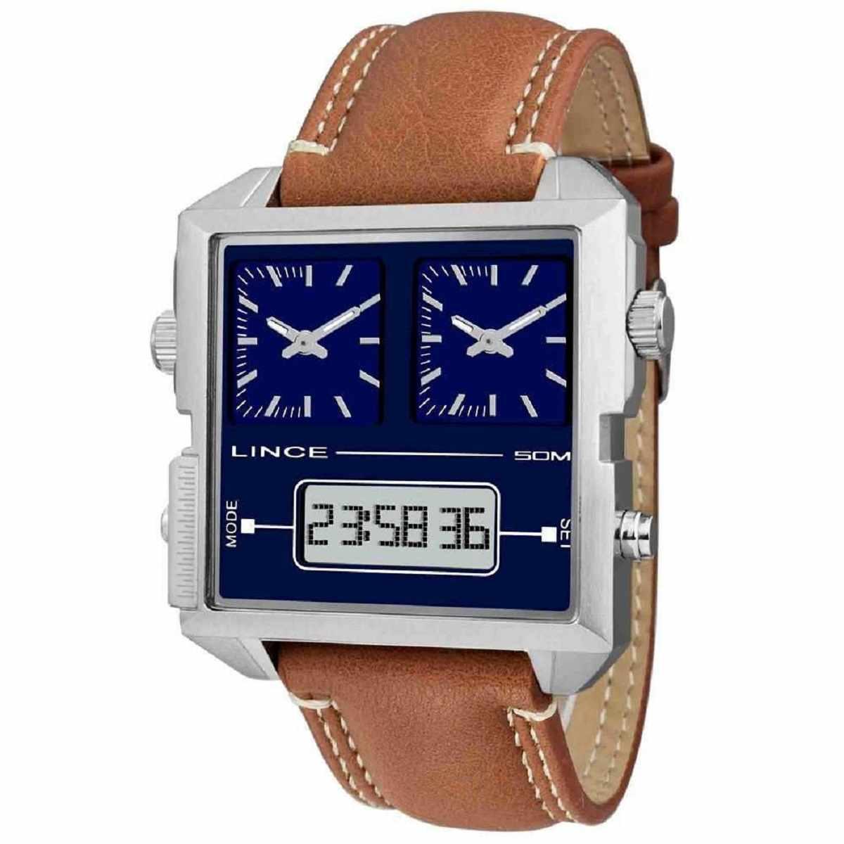Relógio Lince Masculino Digital e Analógico Quadrado Marrom MAC4587S D1MX
