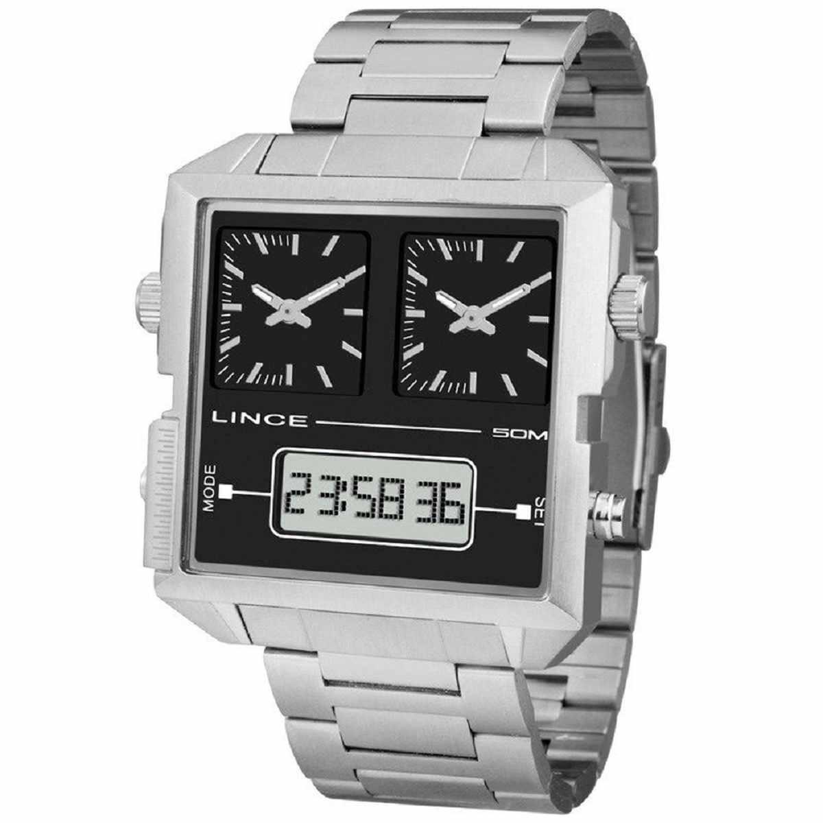 Relógio Lince Masculino Digital e Analógico Quadrado Prateado MAM4587S P1SX