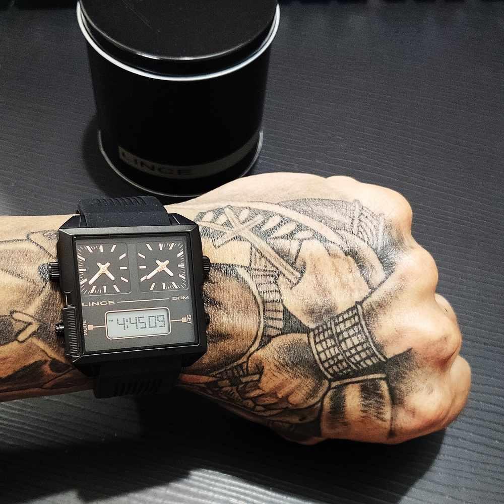 Relógio Lince Masculino Digital e Analógico Quadrado Preto Silicone MAP4588S P1PX