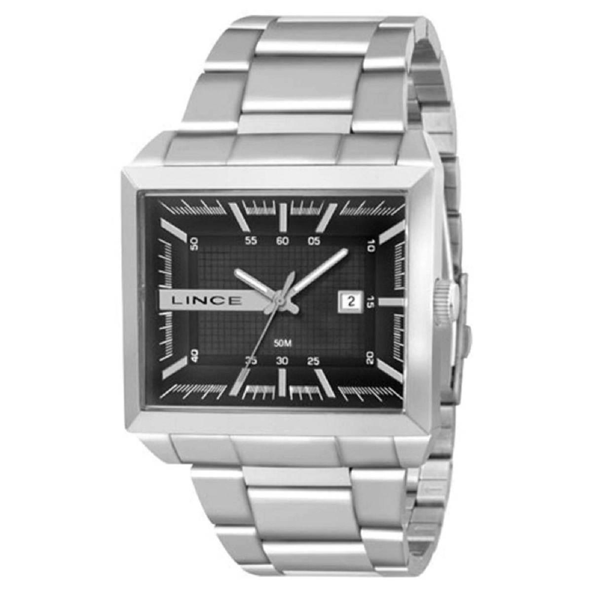 Relógio Lince Masculino Quadrado Prateado MQM4267L P1SX