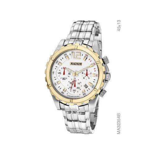 Relógio Magnum Analógico De Pulso Prata Masculino Chronograph Calendário MA32354B