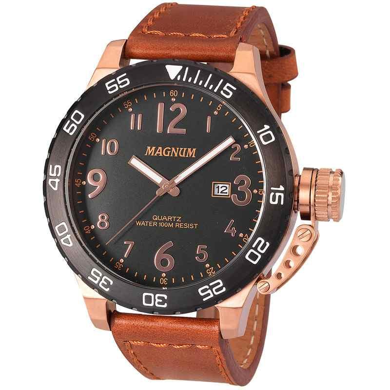 Relógio Magnum Analógico Masculino Bronze Pulseira de Couro Marrom  Oversized MA33700P