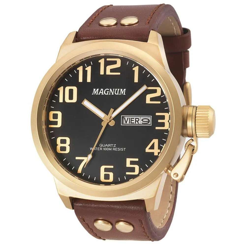 Relógio Magnum Analógico Masculino Dourado Pulseira de Couro Marrom MA32952P