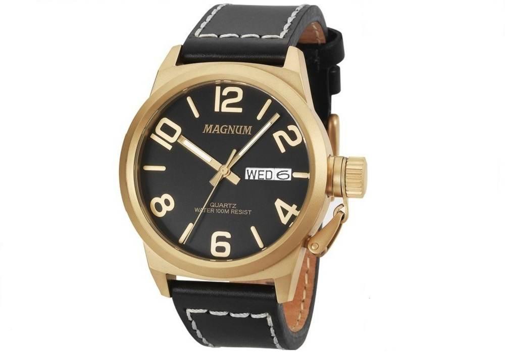 Relógio Magnum Analógico Masculino Dourado Pulseira de Couro Preto MA33406P