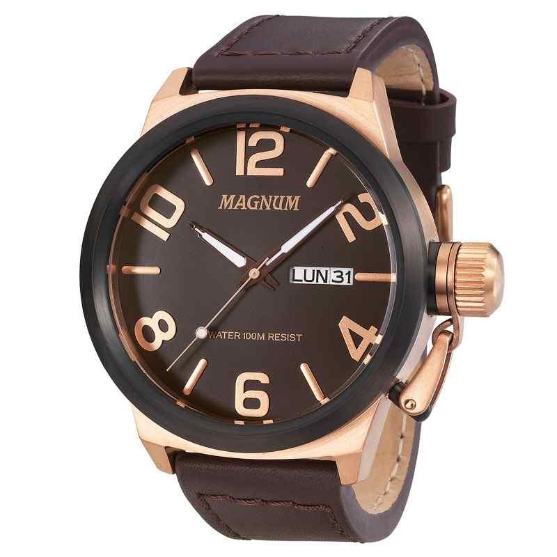 Relógio Magnum Analógico Masculino Pulseira de Couro Marrom MA33399Z