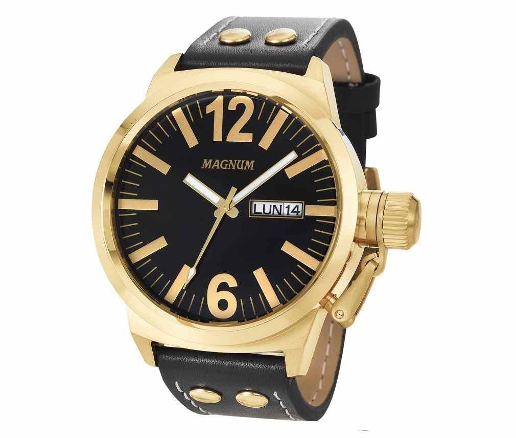Relógio Magnum Masculino Analógico Calendário Military Dourado/Preto MA31524U