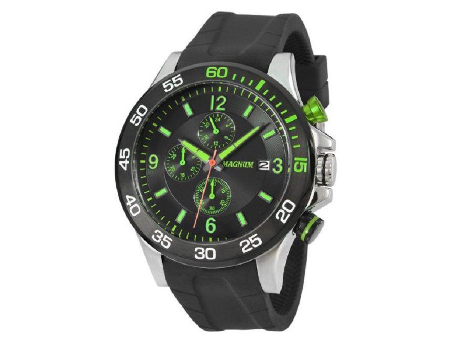 Relógio Magnum Masculino Analógico De Pulso Pulseira De Silicone Preta Verde MA33791G
