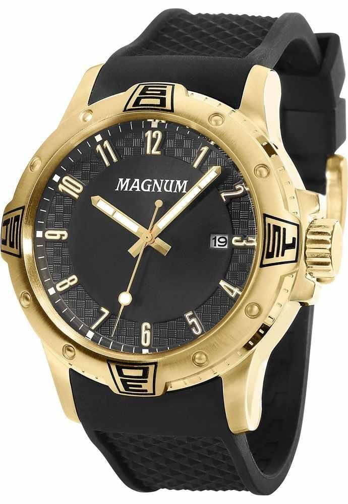 Relógio Magnum Masculino Analógico Dourado Pulseira De Silicone Preto MA34414U