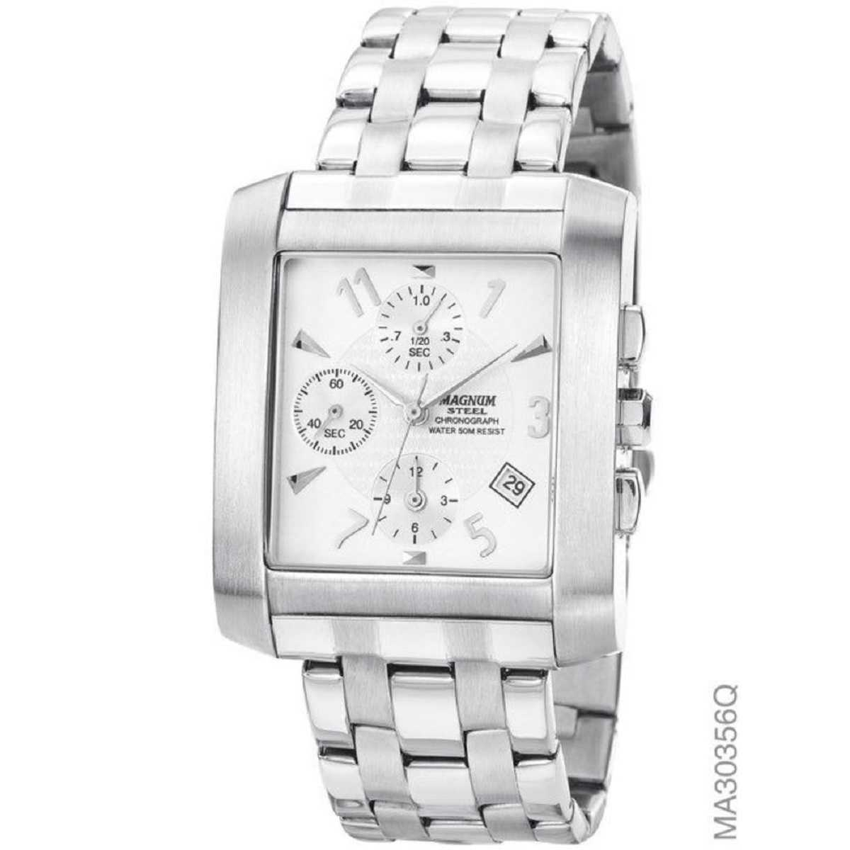 Relógio Magnum Masculino Analógico Quadrado Prateado MA30356Q