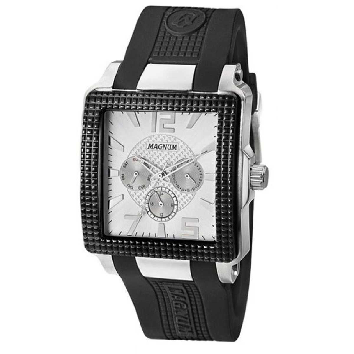 Relógio Magnum Masculino Analógico Quadrado Pulseira De Silicone Preto MA31882Q