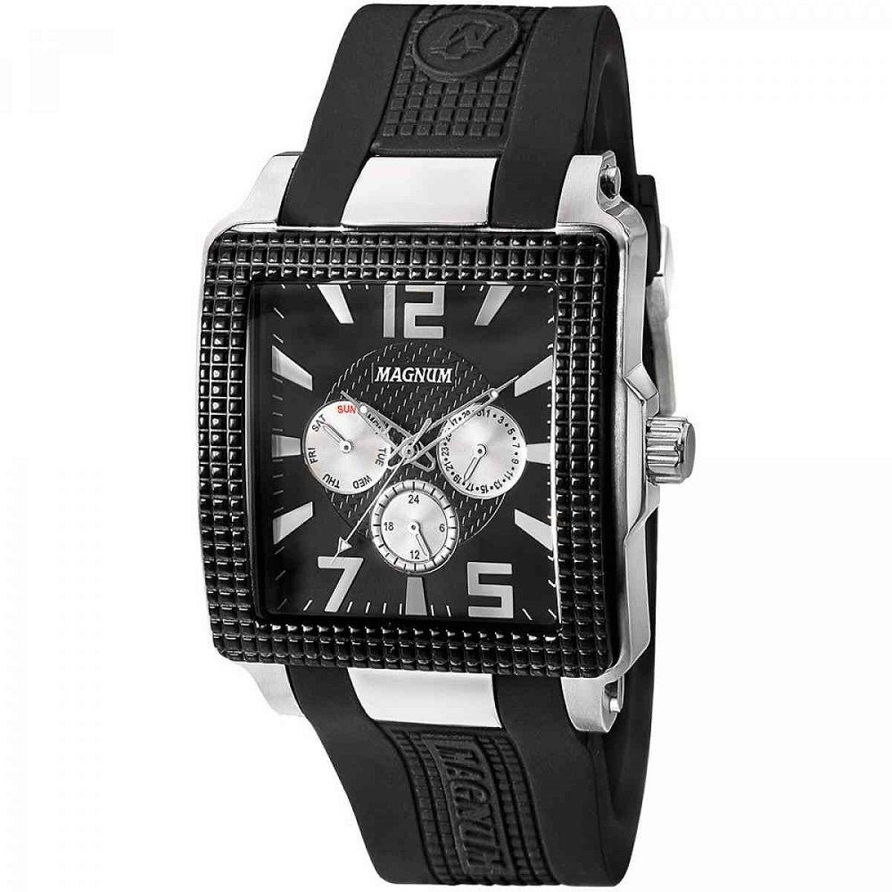 Relógio Magnum Masculino Analógico Quadrado Pulseira De Silicone Preto MA31882T