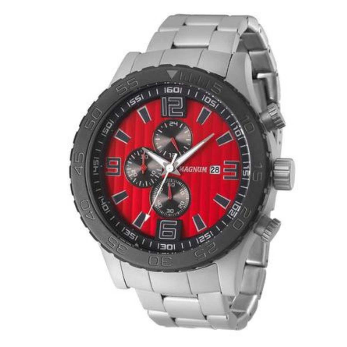 Relógio Magnum Masculino Cinza Fosco Chronograph MA33602V