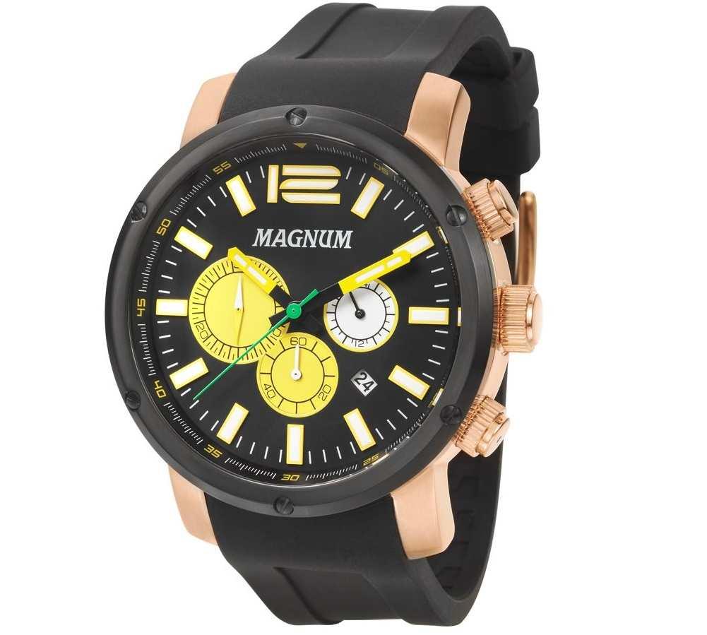 Relógio Magnum Masculino Dourado Analógico De Pulso Pulseira De Silicone Preta Ma34683P