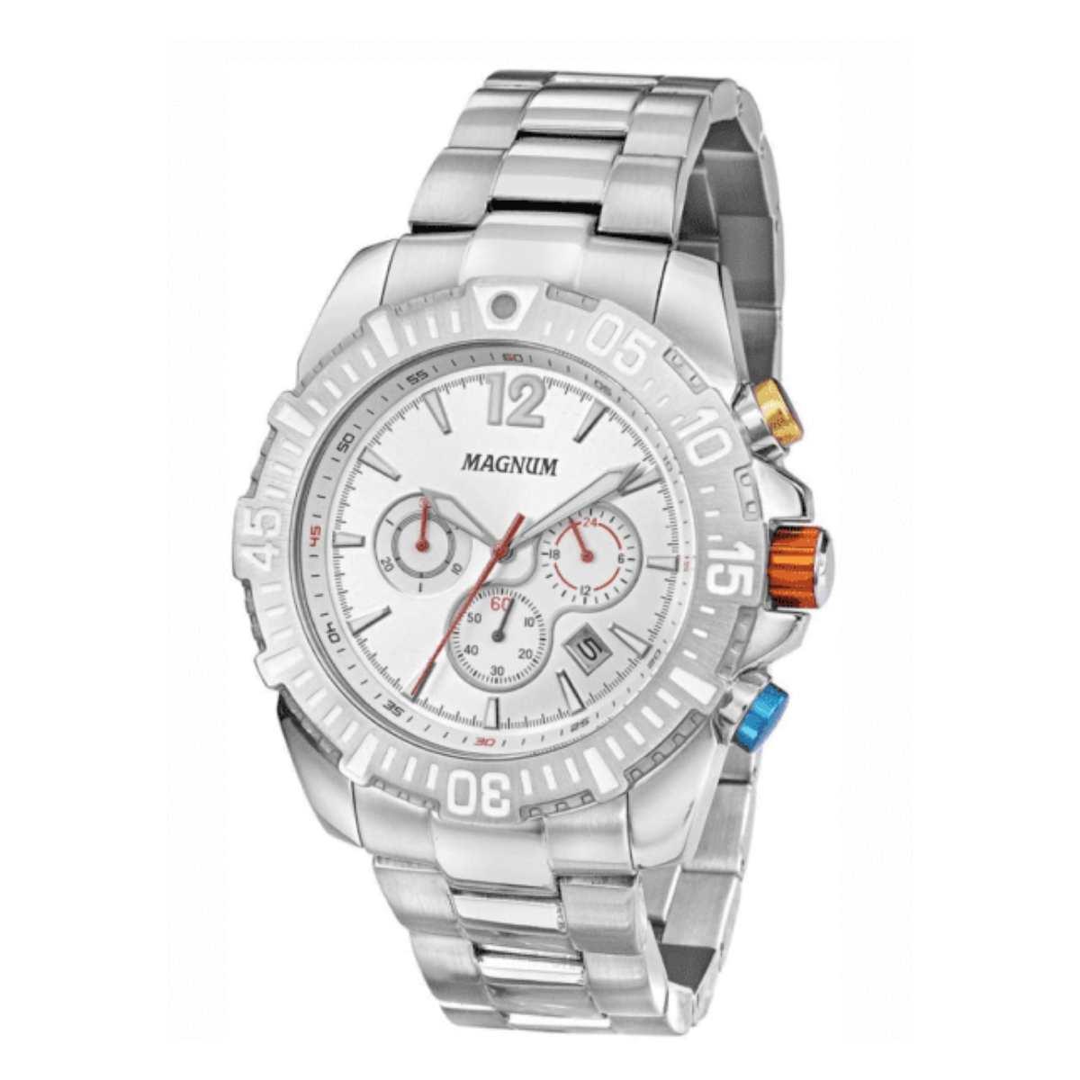 Relógio Magnum Masculino Prateado Cronógrafo MA33102Q
