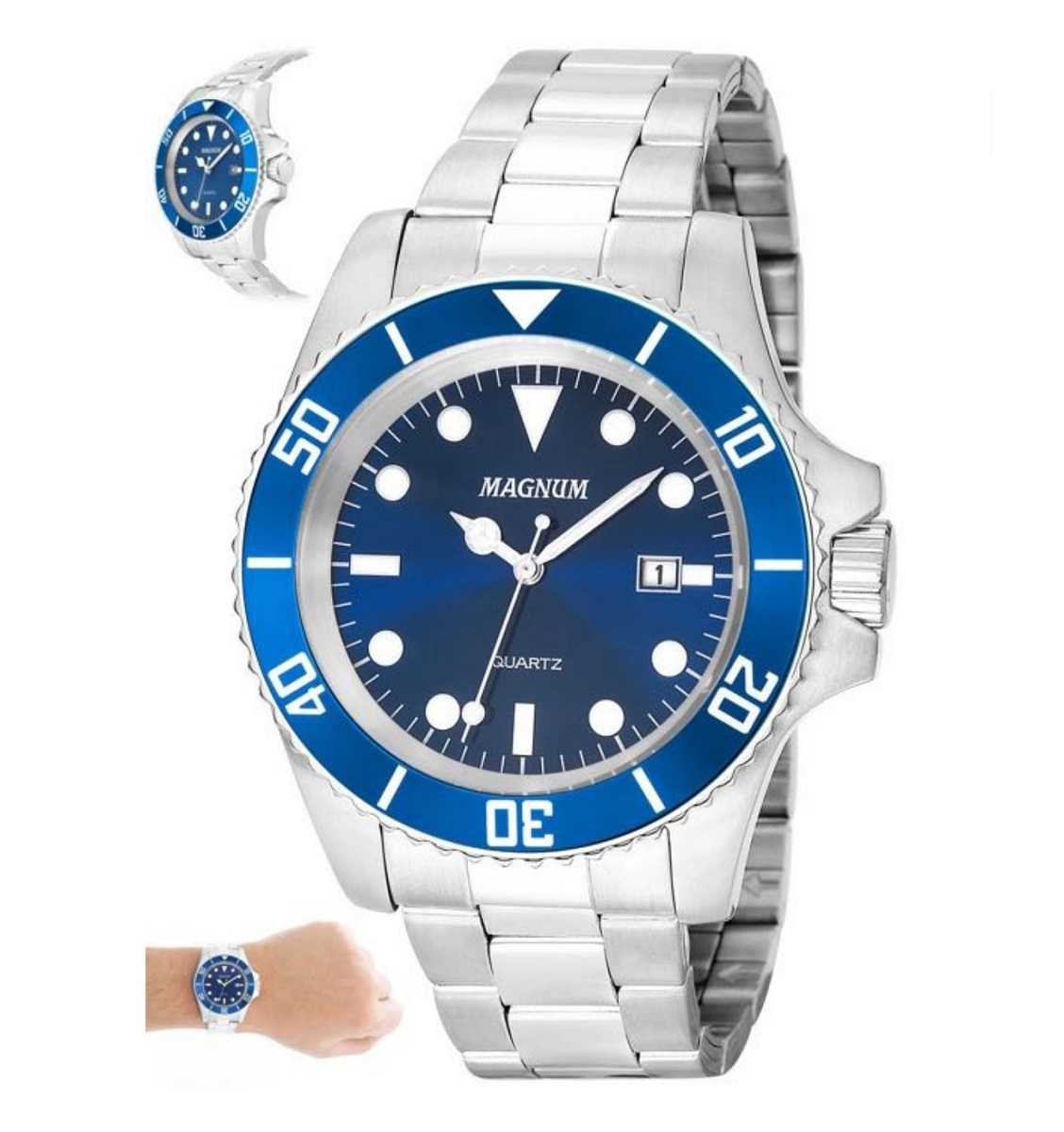 Relógio Magnum Masculino Prateado Fundo Azul MA33068F