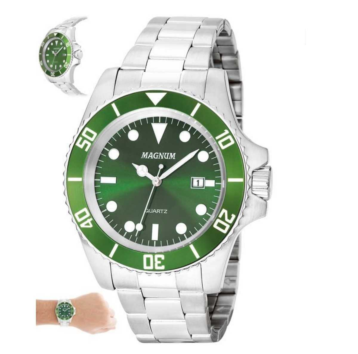 Relógio Magnum Masculino Prateado Fundo Verde MA33068G