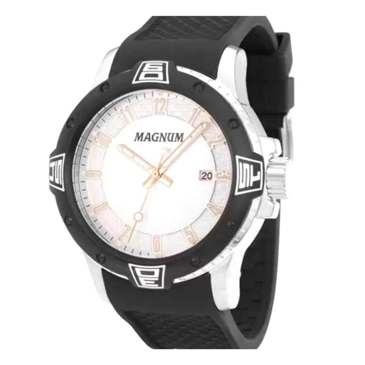 Relógio Magnum Masculino Preto Silicone MA34414Q