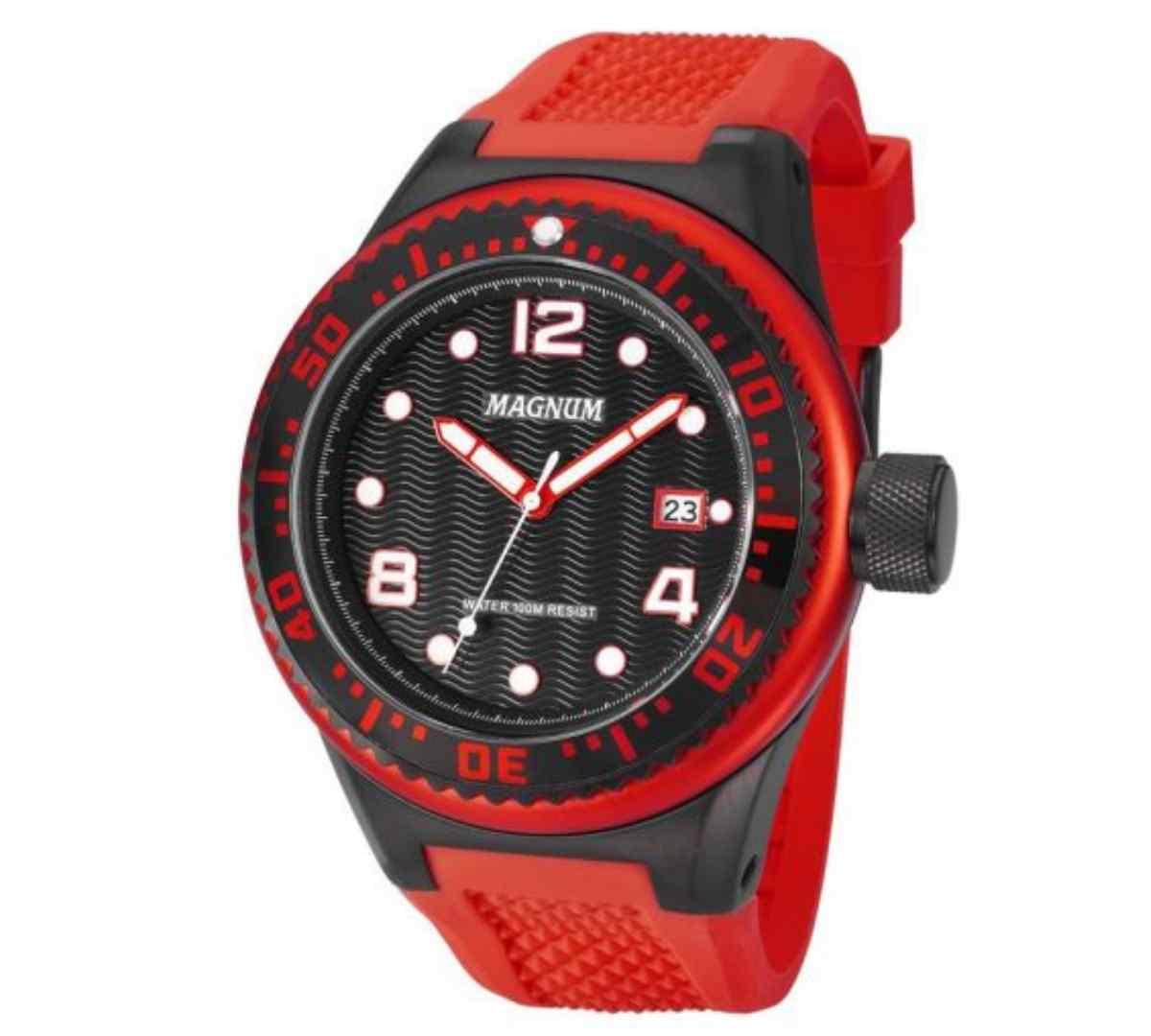 Relógio Magnum Masculino Preto/Vermelho MA34003V