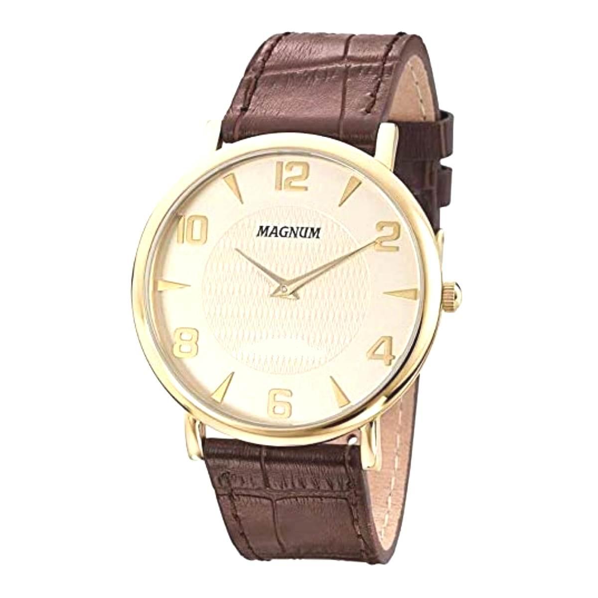 Relógio Magnum Masculino Social Couro Marrom MA21893X