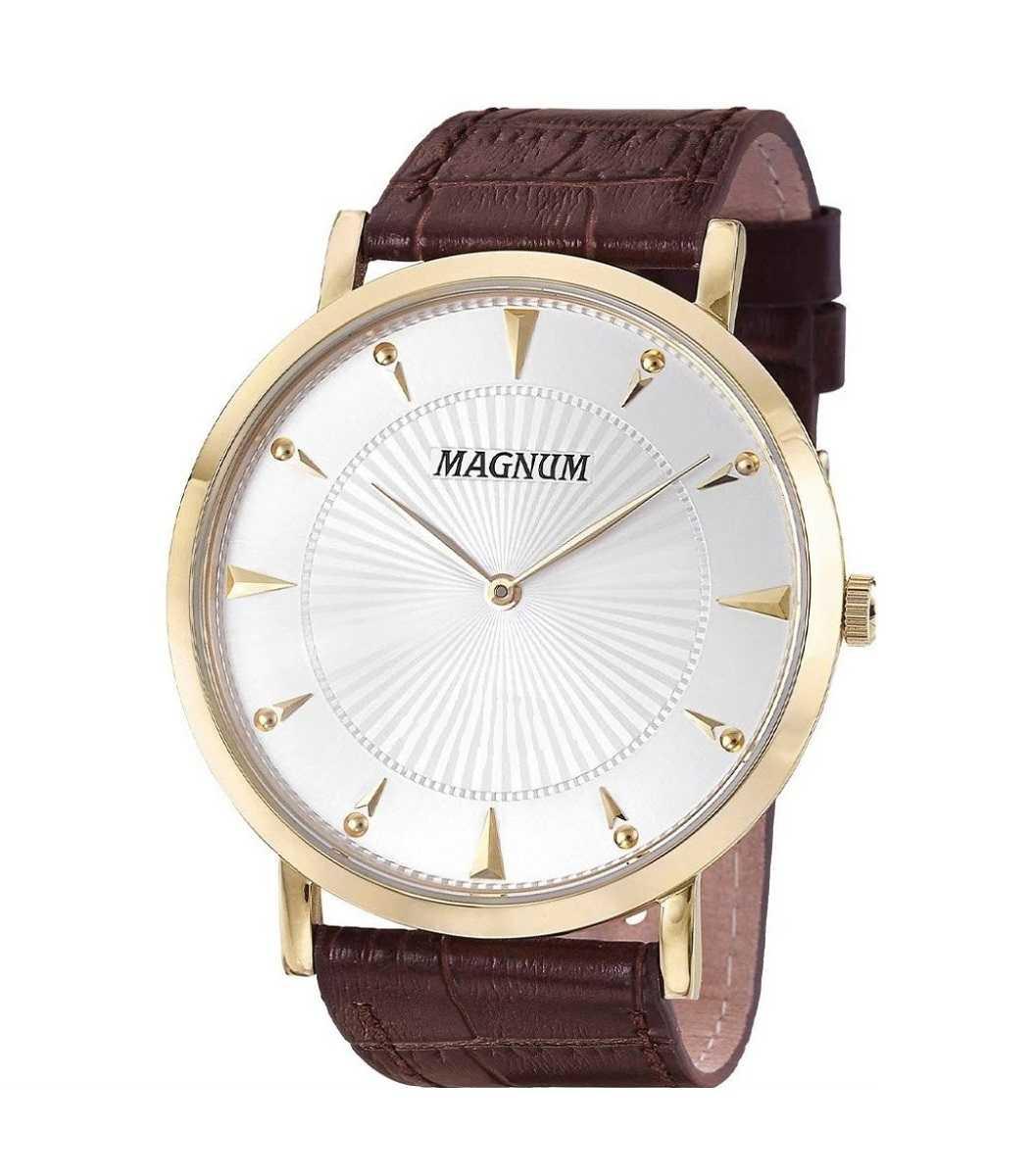 Relógio Magnum Masculino Social Couro Marrom MA21900S